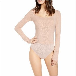 LEITH Long Sleeve Sweater Square Neck Bodysuit